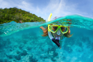 Snorkeling in crystal clear waters.